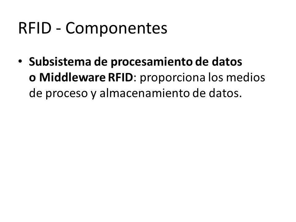 RFID - Componentes Subsistema de procesamiento de datos o Middleware RFID: proporciona los medios de proceso y almacenamiento de datos.