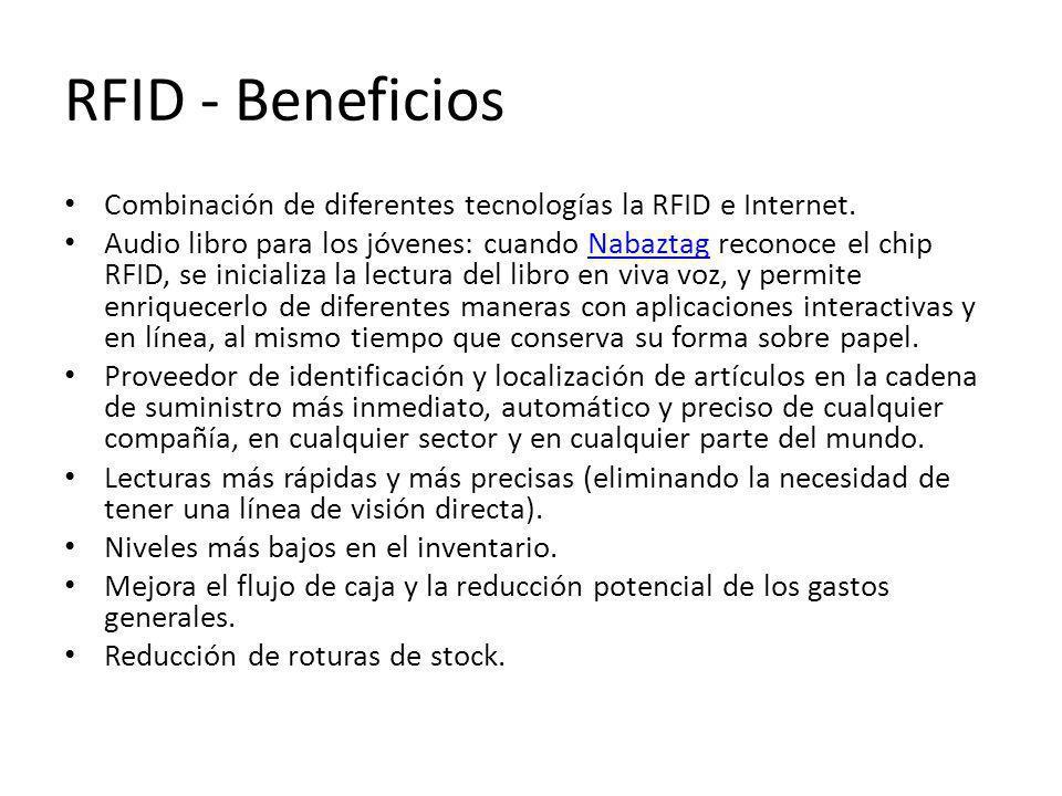 RFID - Beneficios Combinación de diferentes tecnologías la RFID e Internet. Audio libro para los jóvenes: cuando Nabaztag reconoce el chip RFID, se in