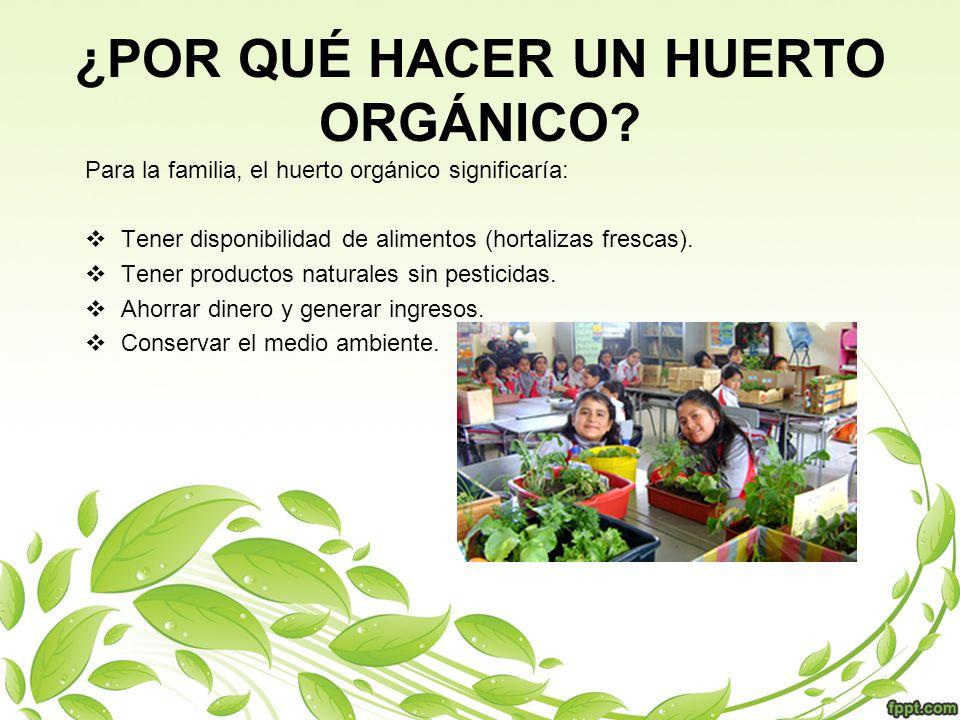 ¿POR QUÉ HACER UN HUERTO ORGÁNICO? Para la familia, el huerto orgánico significaría: Tener disponibilidad de alimentos (hortalizas frescas). Tener pro