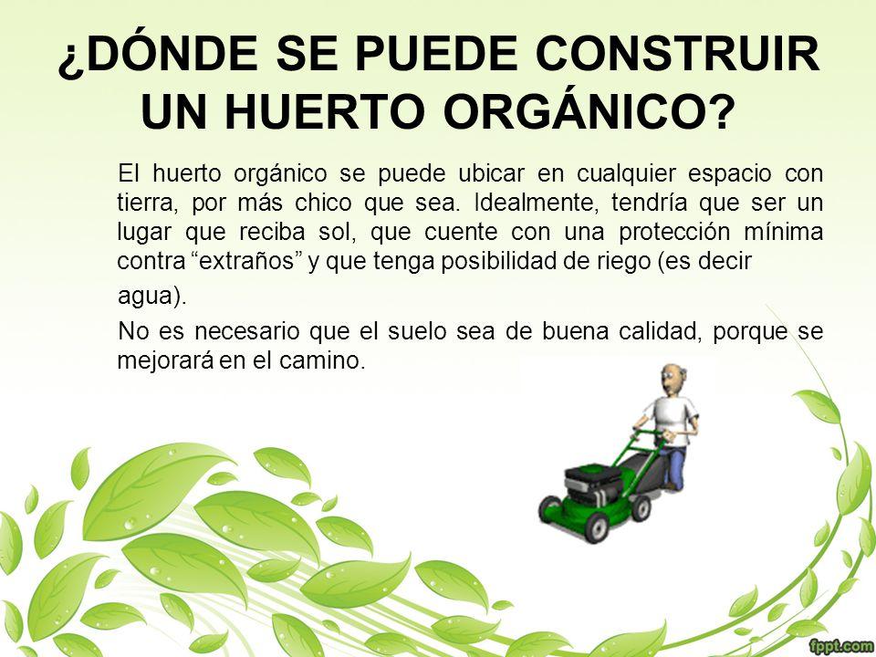 ¿DÓNDE SE PUEDE CONSTRUIR UN HUERTO ORGÁNICO? El huerto orgánico se puede ubicar en cualquier espacio con tierra, por más chico que sea. Idealmente, t