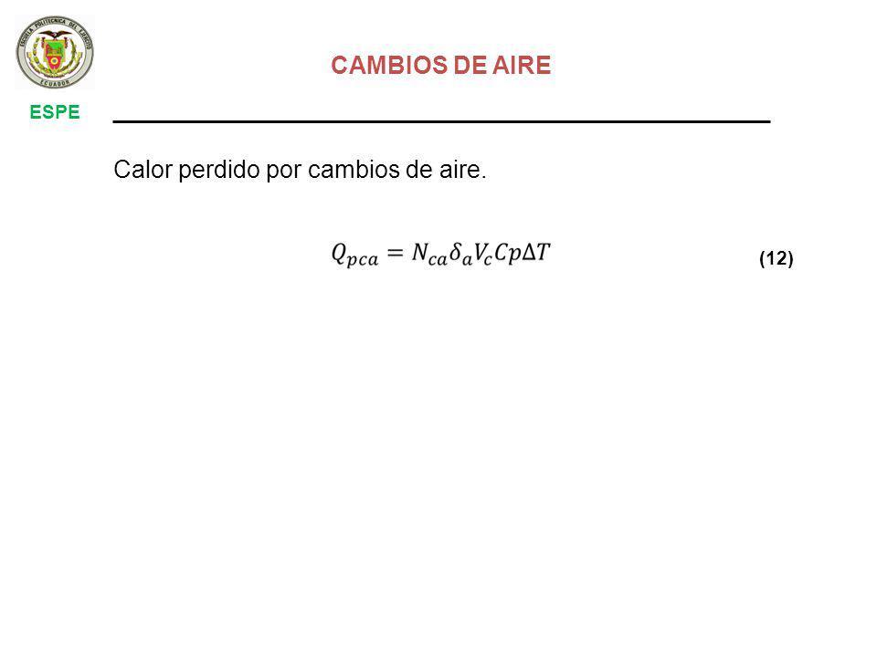 ESPE CAMBIOS DE AIRE Calor perdido por cambios de aire. (12)