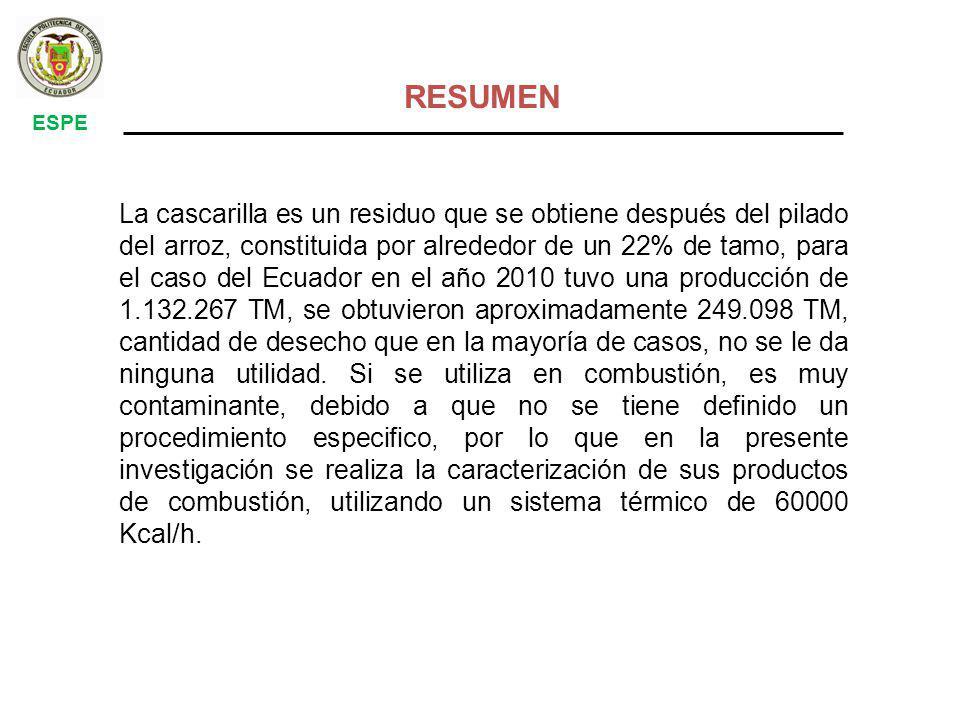 La cascarilla es un residuo que se obtiene después del pilado del arroz, constituida por alrededor de un 22% de tamo, para el caso del Ecuador en el año 2010 tuvo una producción de 1.132.267 TM, se obtuvieron aproximadamente 249.098 TM, cantidad de desecho que en la mayoría de casos, no se le da ninguna utilidad.
