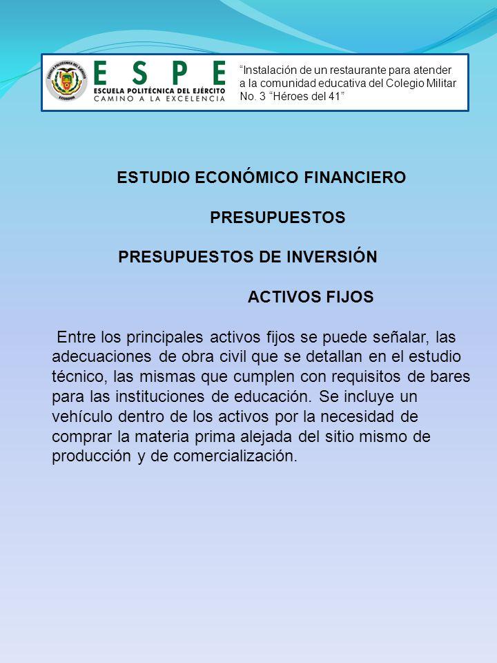 Instalación de un restaurante para atender a la comunidad educativa del Colegio Militar No. 3 Héroes del 41 ESTUDIO ECONÓMICO FINANCIERO PRESUPUESTOS