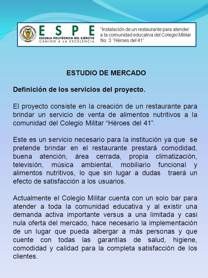 Instalación de un restaurante para atender a la comunidad educativa del Colegio Militar No. 3 Héroes del 41 ESTUDIO DE MERCADO Definición de los servi