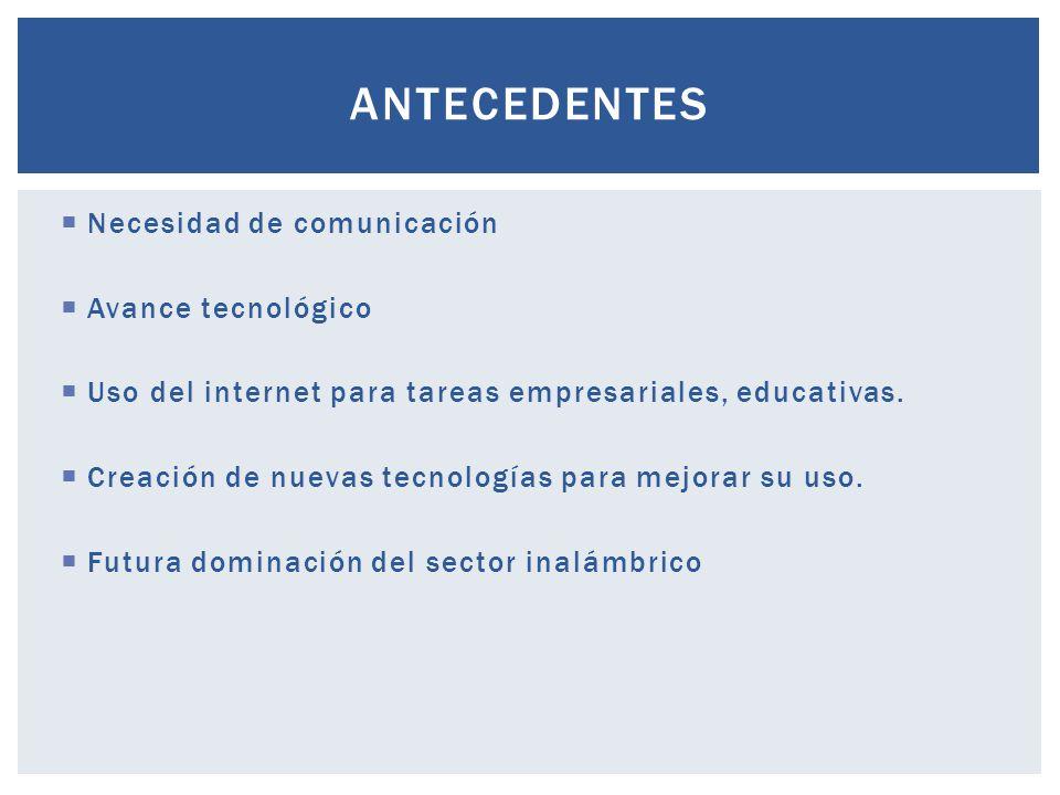 Necesidad de comunicación Avance tecnológico Uso del internet para tareas empresariales, educativas. Creación de nuevas tecnologías para mejorar su us
