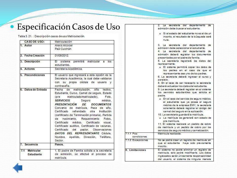 Especificación Casos de Uso