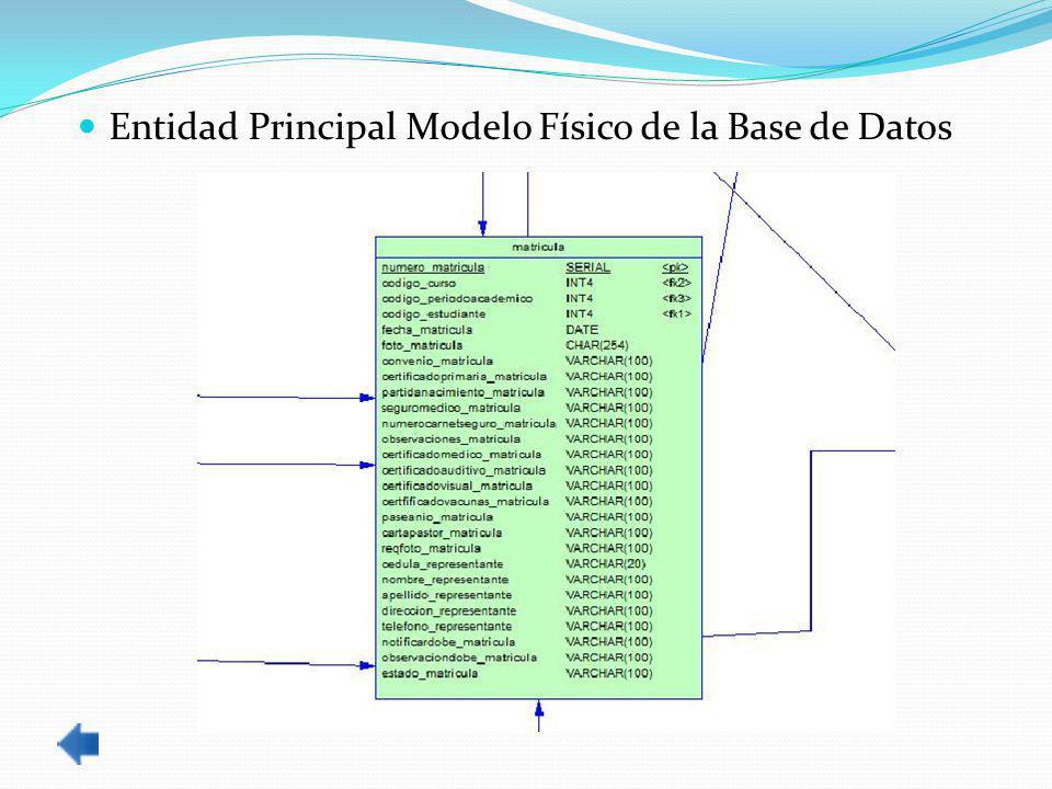Entidad Principal Modelo Físico de la Base de Datos