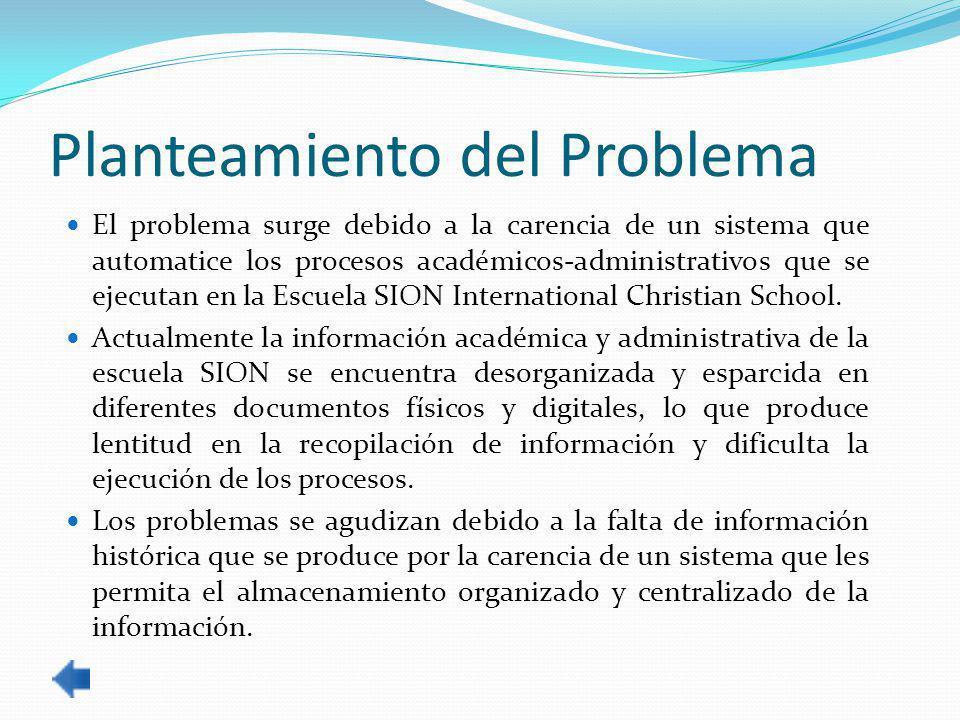 Planteamiento del Problema El problema surge debido a la carencia de un sistema que automatice los procesos académicos-administrativos que se ejecutan en la Escuela SION International Christian School.