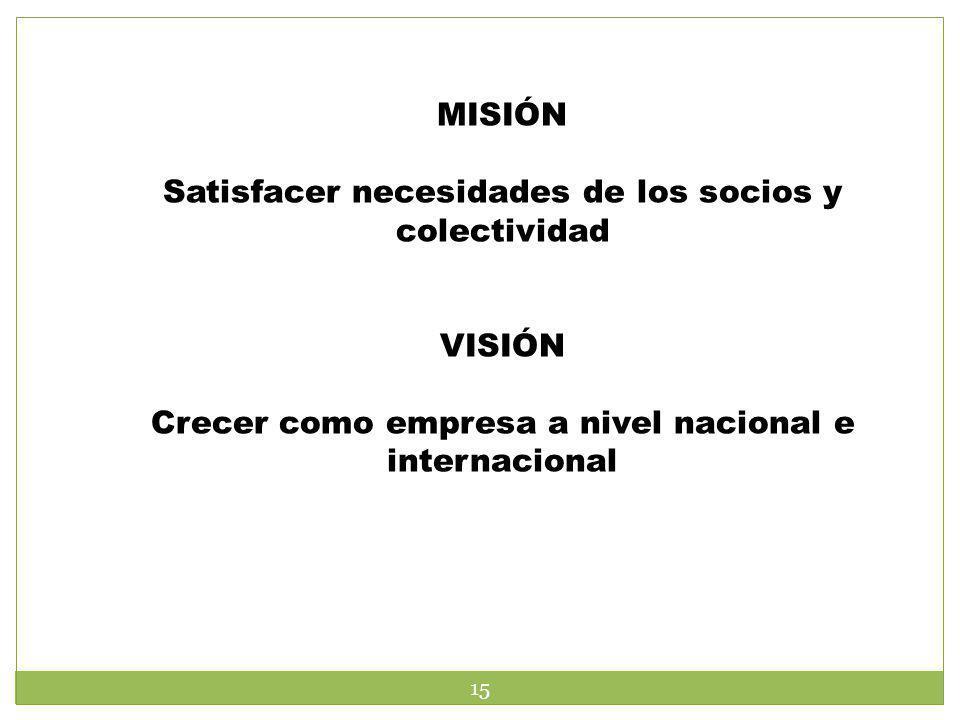 MISIÓN Satisfacer necesidades de los socios y colectividad VISIÓN Crecer como empresa a nivel nacional e internacional 15