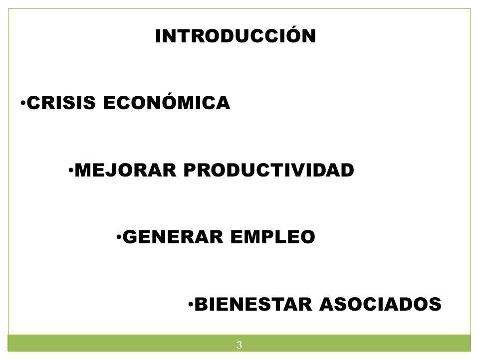 INTRODUCCIÓN CRISIS ECONÓMICA MEJORAR PRODUCTIVIDAD GENERAR EMPLEO BIENESTAR ASOCIADOS 3