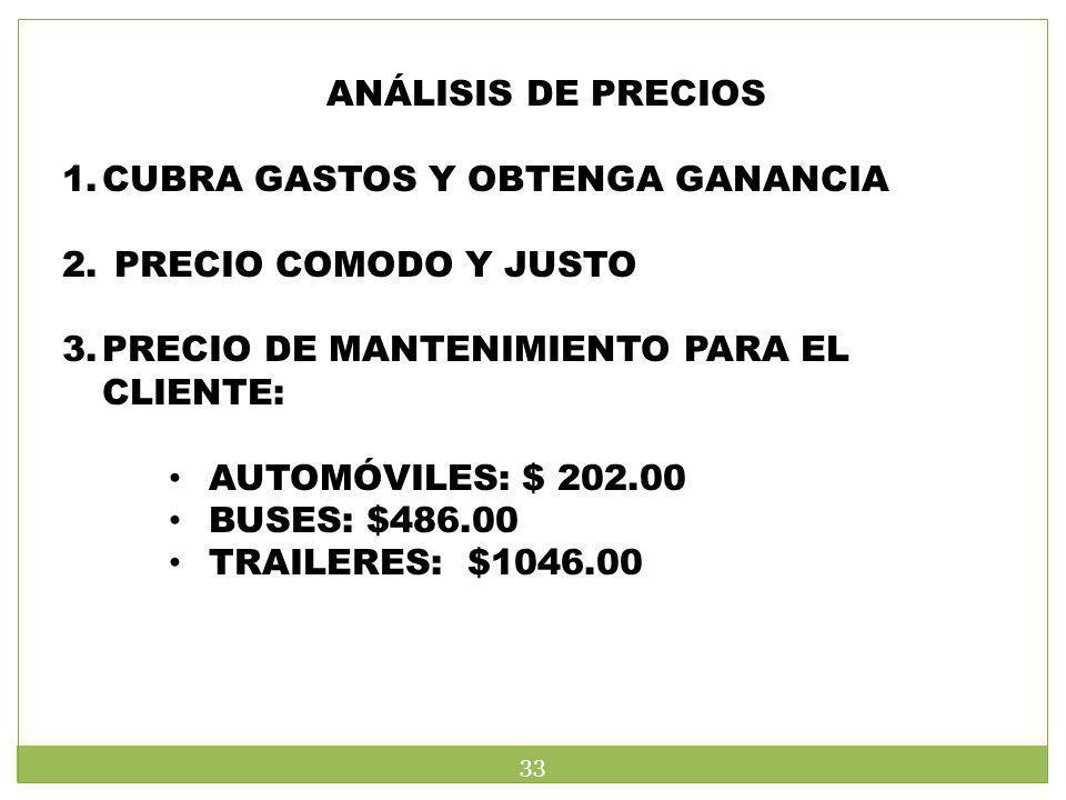 ANÁLISIS DE PRECIOS 1.CUBRA GASTOS Y OBTENGA GANANCIA 2. PRECIO COMODO Y JUSTO 3.PRECIO DE MANTENIMIENTO PARA EL CLIENTE: AUTOMÓVILES: $ 202.00 BUSES:
