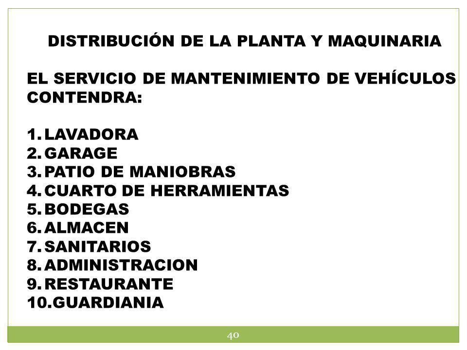 DISTRIBUCIÓN DE LA PLANTA Y MAQUINARIA EL SERVICIO DE MANTENIMIENTO DE VEHÍCULOS CONTENDRA: 1.LAVADORA 2.GARAGE 3.PATIO DE MANIOBRAS 4.CUARTO DE HERRA