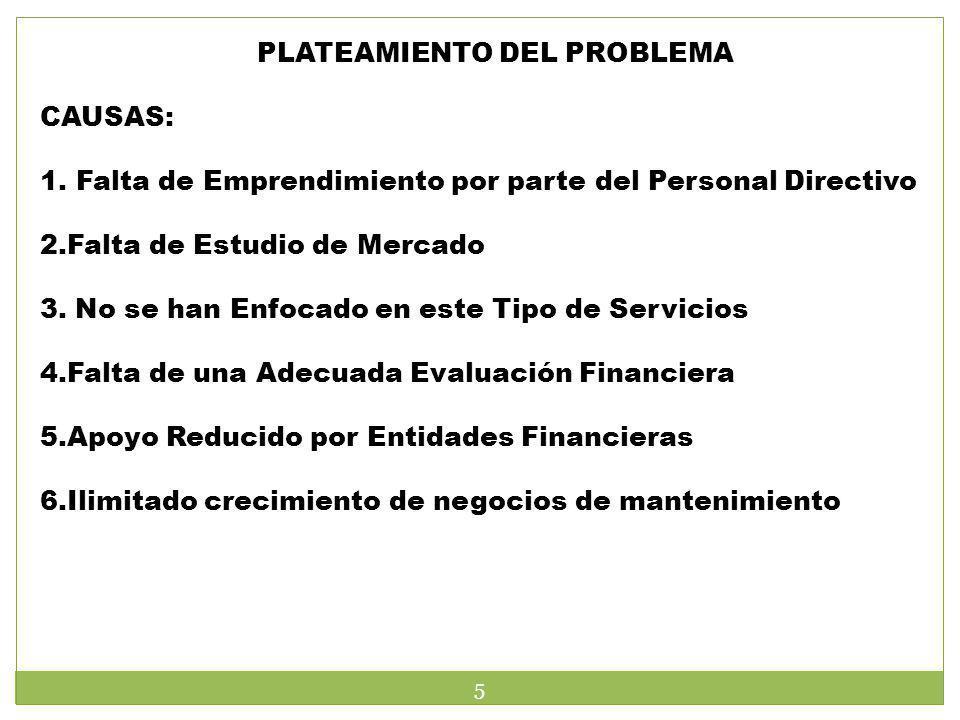 PLATEAMIENTO DEL PROBLEMA CAUSAS: 1.Falta de Emprendimiento por parte del Personal Directivo 2.Falta de Estudio de Mercado 3. No se han Enfocado en es