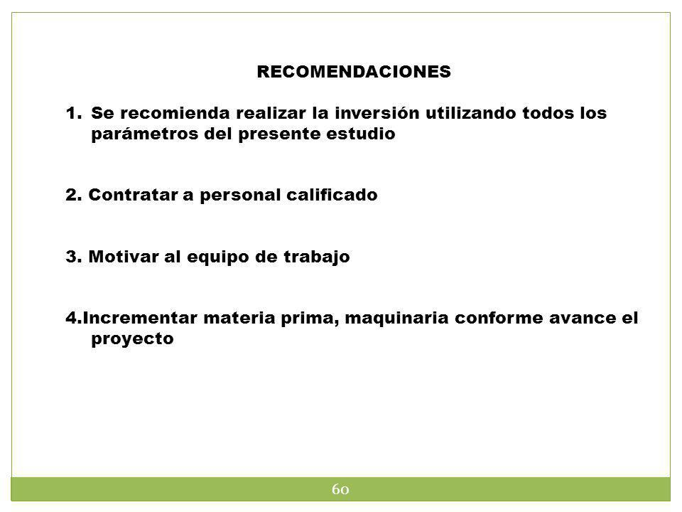 RECOMENDACIONES 1.Se recomienda realizar la inversión utilizando todos los parámetros del presente estudio 2. Contratar a personal calificado 3. Motiv