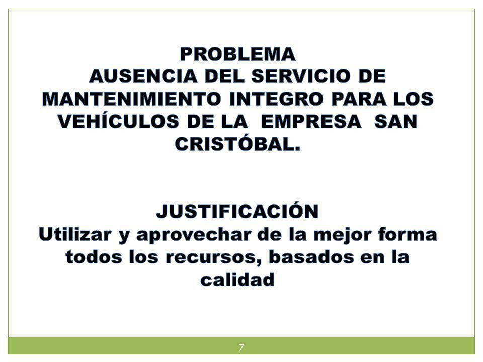 OBJETIVO GENERAL Realizar el estudio de factibilidad para la implantación del servicio de mantenimiento para vehículos en la empresa San Cristóbal.