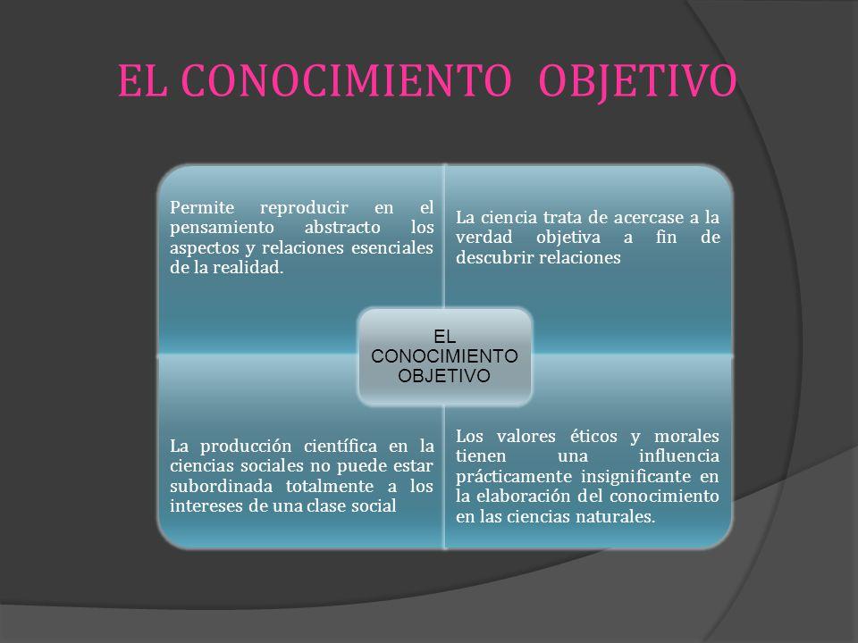 EL CONOCIMIENTO OBJETIVO Permite reproducir en el pensamiento abstracto los aspectos y relaciones esenciales de la realidad. La ciencia trata de acerc