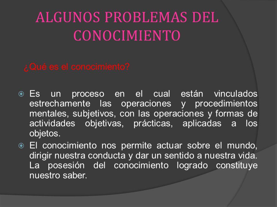 ALGUNOS PROBLEMAS DEL CONOCIMIENTO Es un proceso en el cual están vinculados estrechamente las operaciones y procedimientos mentales, subjetivos, con