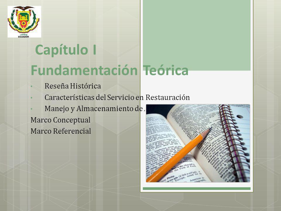 Capítulo I Fundamentación Teórica Reseña Histórica Características del Servicio en Restauración Manejo y Almacenamiento de Alimentos. Marco Conceptual