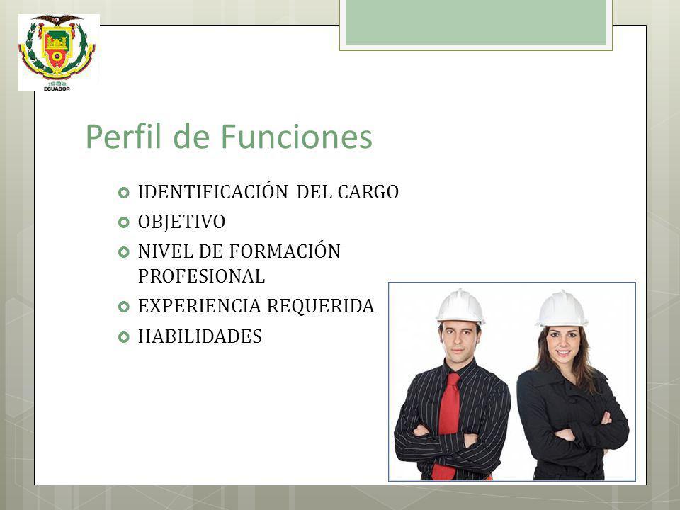 Perfil de Funciones IDENTIFICACIÓN DEL CARGO OBJETIVO NIVEL DE FORMACIÓN PROFESIONAL EXPERIENCIA REQUERIDA HABILIDADES