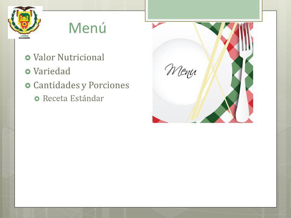 Menú Valor Nutricional Variedad Cantidades y Porciones Receta Estándar
