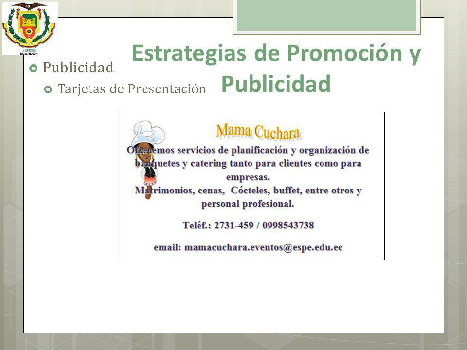 Publicidad Tarjetas de Presentación Estrategias de Promoción y Publicidad