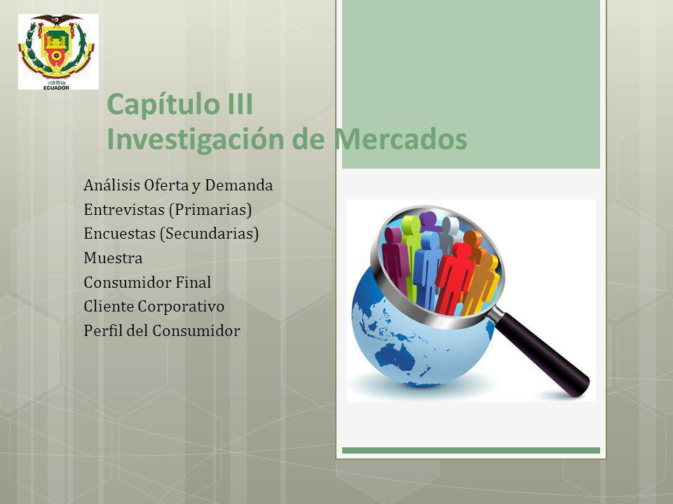 Capítulo III Investigación de Mercados Análisis Oferta y Demanda Entrevistas (Primarias) Encuestas (Secundarias) Muestra Consumidor Final Cliente Corp
