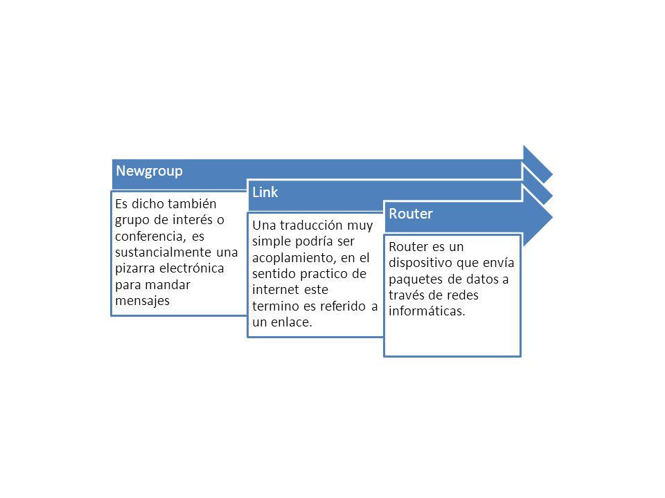 Newgroup Es dicho también grupo de interés o conferencia, es sustancialmente una pizarra electrónica para mandar mensajes Link Una traducción muy simple podría ser acoplamiento, en el sentido practico de internet este termino es referido a un enlace.