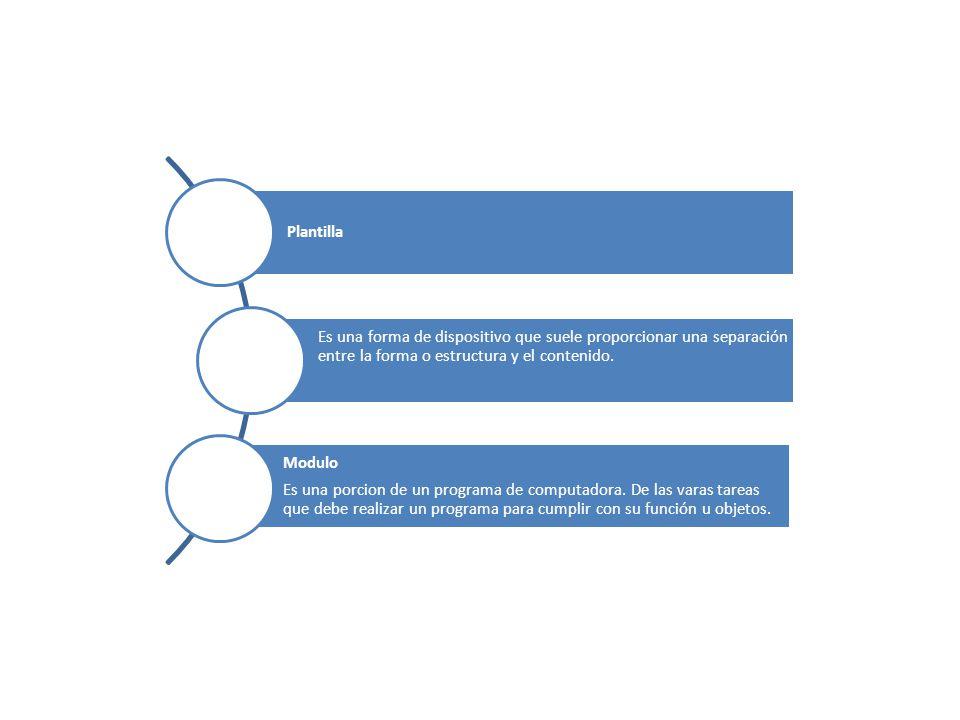 Plantilla Es una forma de dispositivo que suele proporcionar una separación entre la forma o estructura y el contenido.
