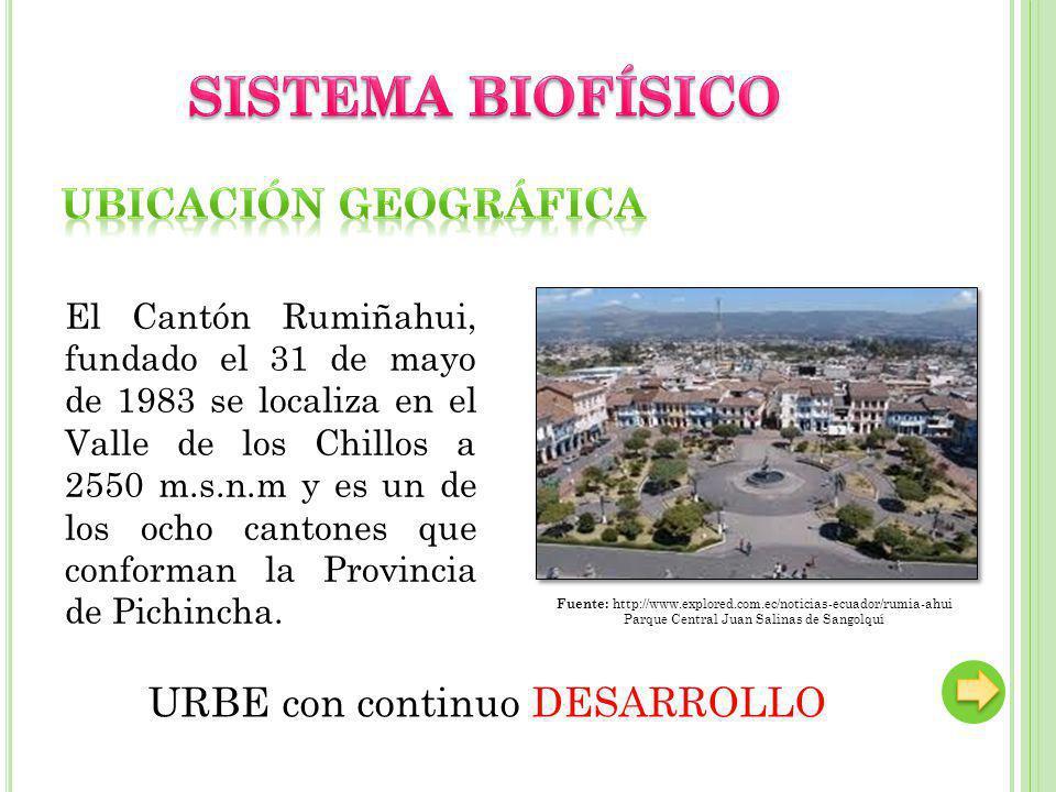 El Cantón Rumiñahui, fundado el 31 de mayo de 1983 se localiza en el Valle de los Chillos a 2550 m.s.n.m y es un de los ocho cantones que conforman la Provincia de Pichincha.