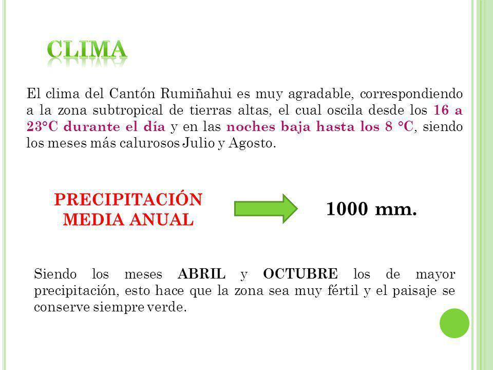 El clima del Cantón Rumiñahui es muy agradable, correspondiendo a la zona subtropical de tierras altas, el cual oscila desde los 16 a 23°C durante el día y en las noches baja hasta los 8 °C, siendo los meses más calurosos Julio y Agosto.