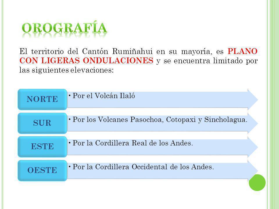 El territorio del Cantón Rumiñahui en su mayoría, es PLANO CON LIGERAS ONDULACIONES y se encuentra limitado por las siguientes elevaciones: Por el Vol