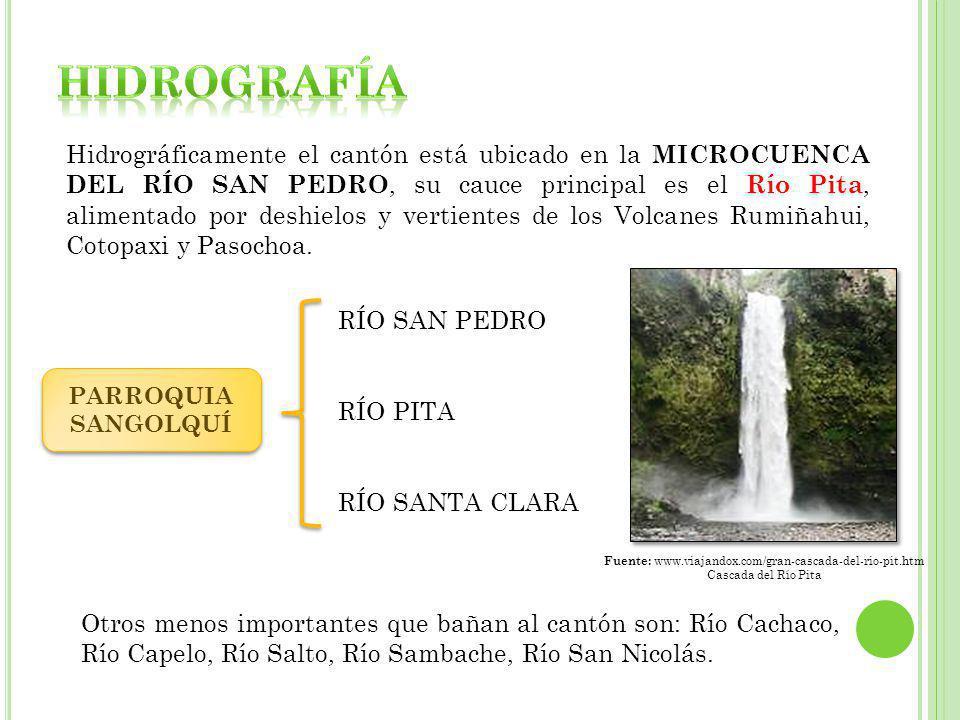 Hidrográficamente el cantón está ubicado en la MICROCUENCA DEL RÍO SAN PEDRO, su cauce principal es el Río Pita, alimentado por deshielos y vertientes de los Volcanes Rumiñahui, Cotopaxi y Pasochoa.