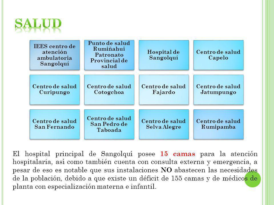IEES centro de atención ambulatoria Sangolquí Punto de salud Rumiñahui Patronato Provincial de salud Hospital de Sangolquí Centro de salud Capelo Cent
