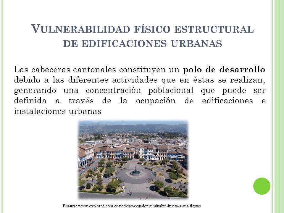 V ULNERABILIDAD FÍSICO ESTRUCTURAL DE EDIFICACIONES URBANAS Las cabeceras cantonales constituyen un polo de desarrollo debido a las diferentes activid