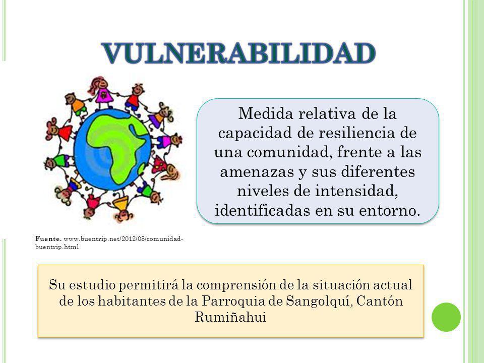 Medida relativa de la capacidad de resiliencia de una comunidad, frente a las amenazas y sus diferentes niveles de intensidad, identificadas en su entorno.