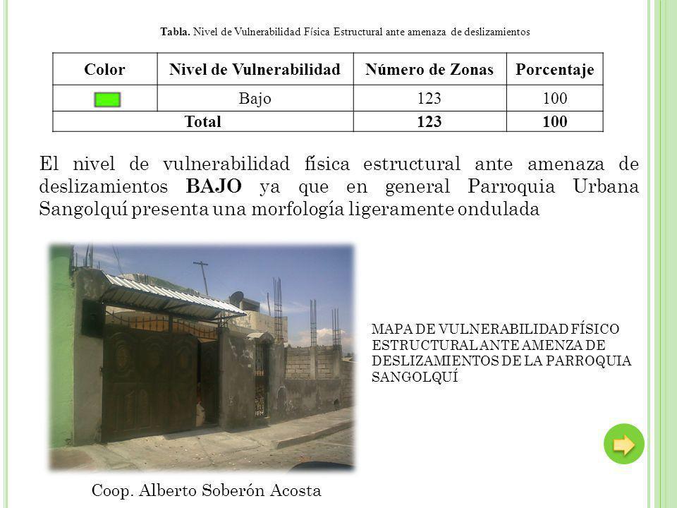 ColorNivel de VulnerabilidadNúmero de ZonasPorcentaje Bajo123100 Total123100 Tabla. Nivel de Vulnerabilidad F í sica Estructural ante amenaza de desli