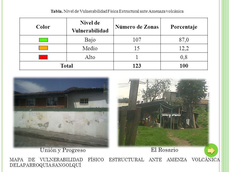 Unión y Progreso Color Nivel de Vulnerabilidad Número de ZonasPorcentaje Bajo10787,0 Medio1512,2 Alto10,8 Total123100 Tabla.