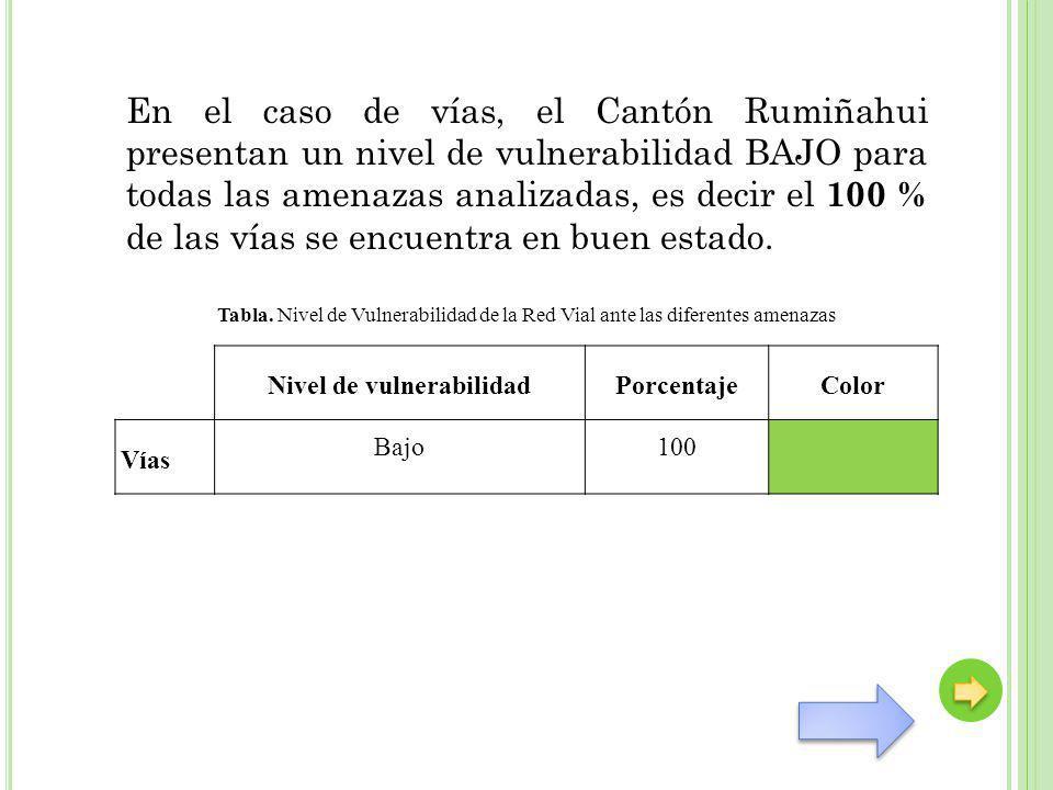 En el caso de vías, el Cantón Rumiñahui presentan un nivel de vulnerabilidad BAJO para todas las amenazas analizadas, es decir el 100 % de las vías se
