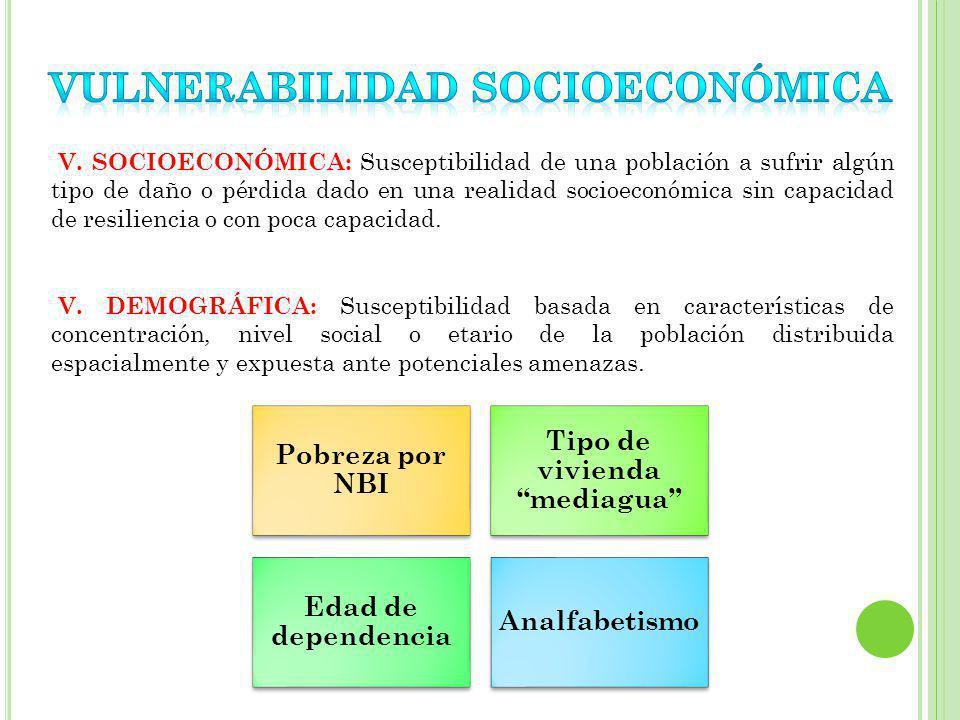 V. SOCIOECONÓMICA: Susceptibilidad de una población a sufrir algún tipo de daño o pérdida dado en una realidad socioeconómica sin capacidad de resilie