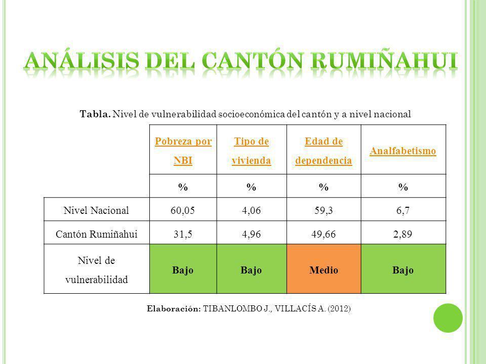 Pobreza por NBI Tipo de vivienda Edad de dependencia Analfabetismo %% Nivel Nacional60,054,0659,36,7 Cantón Rumiñahui31,54,9649,662,89 Nivel de vulnerabilidad Bajo MedioBajo Tabla.