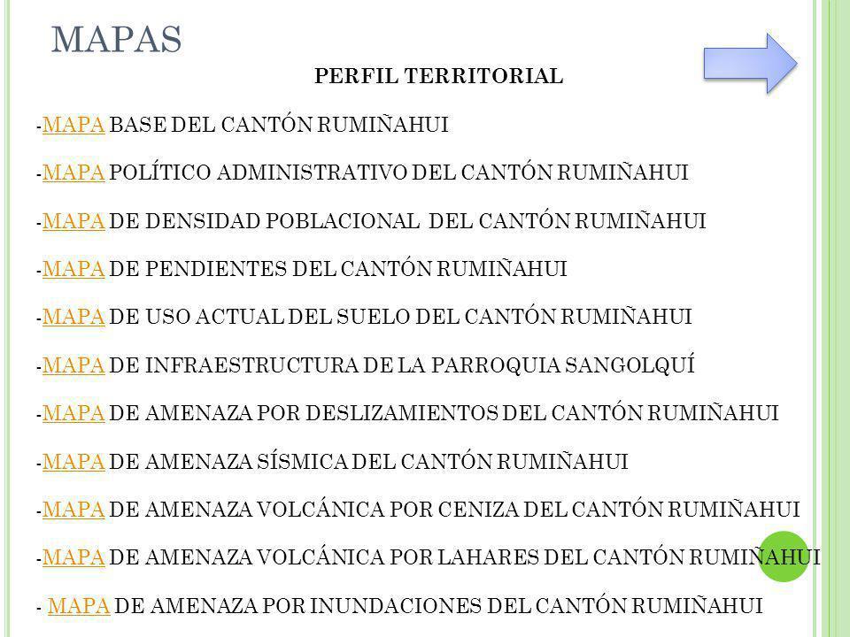 MAPAS PERFIL TERRITORIAL -MAPA BASE DEL CANTÓN RUMIÑAHUIMAPA -MAPA POLÍTICO ADMINISTRATIVO DEL CANTÓN RUMIÑAHUIMAPA -MAPA DE DENSIDAD POBLACIONAL DEL CANTÓN RUMIÑAHUIMAPA -MAPA DE PENDIENTES DEL CANTÓN RUMIÑAHUIMAPA -MAPA DE USO ACTUAL DEL SUELO DEL CANTÓN RUMIÑAHUIMAPA -MAPA DE INFRAESTRUCTURA DE LA PARROQUIA SANGOLQUÍMAPA -MAPA DE AMENAZA POR DESLIZAMIENTOS DEL CANTÓN RUMIÑAHUIMAPA -MAPA DE AMENAZA SÍSMICA DEL CANTÓN RUMIÑAHUIMAPA -MAPA DE AMENAZA VOLCÁNICA POR CENIZA DEL CANTÓN RUMIÑAHUIMAPA -MAPA DE AMENAZA VOLCÁNICA POR LAHARES DEL CANTÓN RUMIÑAHUIMAPA - MAPA DE AMENAZA POR INUNDACIONES DEL CANTÓN RUMIÑAHUIMAPA