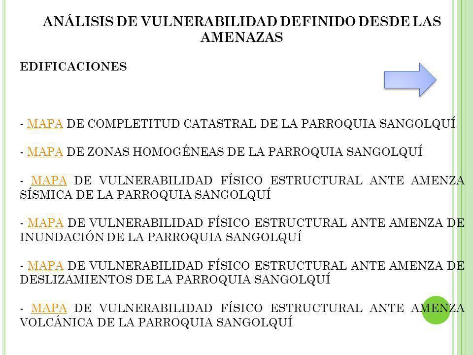 ANÁLISIS DE VULNERABILIDAD DEFINIDO DESDE LAS AMENAZAS EDIFICACIONES - MAPA DE COMPLETITUD CATASTRAL DE LA PARROQUIA SANGOLQUÍMAPA - MAPA DE ZONAS HOMOGÉNEAS DE LA PARROQUIA SANGOLQUÍMAPA - MAPA DE VULNERABILIDAD FÍSICO ESTRUCTURAL ANTE AMENZA SÍSMICA DE LA PARROQUIA SANGOLQUÍMAPA - MAPA DE VULNERABILIDAD FÍSICO ESTRUCTURAL ANTE AMENZA DE INUNDACIÓN DE LA PARROQUIA SANGOLQUÍMAPA - MAPA DE VULNERABILIDAD FÍSICO ESTRUCTURAL ANTE AMENZA DE DESLIZAMIENTOS DE LA PARROQUIA SANGOLQUÍMAPA - MAPA DE VULNERABILIDAD FÍSICO ESTRUCTURAL ANTE AMENZA VOLCÁNICA DE LA PARROQUIA SANGOLQUÍMAPA