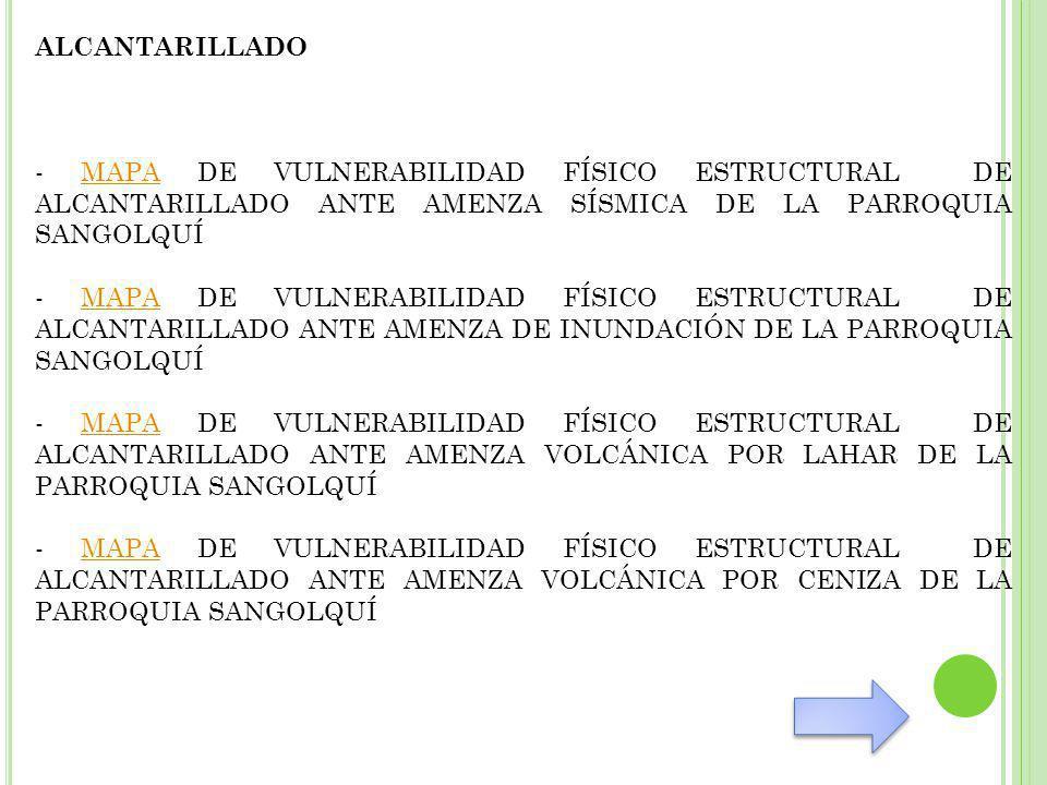 ALCANTARILLADO - MAPA DE VULNERABILIDAD FÍSICO ESTRUCTURAL DE ALCANTARILLADO ANTE AMENZA SÍSMICA DE LA PARROQUIA SANGOLQUÍMAPA - MAPA DE VULNERABILIDAD FÍSICO ESTRUCTURAL DE ALCANTARILLADO ANTE AMENZA DE INUNDACIÓN DE LA PARROQUIA SANGOLQUÍMAPA - MAPA DE VULNERABILIDAD FÍSICO ESTRUCTURAL DE ALCANTARILLADO ANTE AMENZA VOLCÁNICA POR LAHAR DE LA PARROQUIA SANGOLQUÍMAPA - MAPA DE VULNERABILIDAD FÍSICO ESTRUCTURAL DE ALCANTARILLADO ANTE AMENZA VOLCÁNICA POR CENIZA DE LA PARROQUIA SANGOLQUÍMAPA