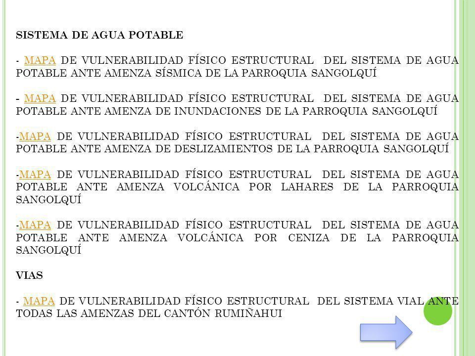 SISTEMA DE AGUA POTABLE - MAPA DE VULNERABILIDAD FÍSICO ESTRUCTURAL DEL SISTEMA DE AGUA POTABLE ANTE AMENZA SÍSMICA DE LA PARROQUIA SANGOLQUÍMAPA - MAPA DE VULNERABILIDAD FÍSICO ESTRUCTURAL DEL SISTEMA DE AGUA POTABLE ANTE AMENZA DE INUNDACIONES DE LA PARROQUIA SANGOLQUÍ MAPA -MAPA DE VULNERABILIDAD FÍSICO ESTRUCTURAL DEL SISTEMA DE AGUA POTABLE ANTE AMENZA DE DESLIZAMIENTOS DE LA PARROQUIA SANGOLQUÍMAPA -MAPA DE VULNERABILIDAD FÍSICO ESTRUCTURAL DEL SISTEMA DE AGUA POTABLE ANTE AMENZA VOLCÁNICA POR LAHARES DE LA PARROQUIA SANGOLQUÍMAPA -MAPA DE VULNERABILIDAD FÍSICO ESTRUCTURAL DEL SISTEMA DE AGUA POTABLE ANTE AMENZA VOLCÁNICA POR CENIZA DE LA PARROQUIA SANGOLQUÍMAPA VIAS - MAPA DE VULNERABILIDAD FÍSICO ESTRUCTURAL DEL SISTEMA VIAL ANTE TODAS LAS AMENZAS DEL CANTÓN RUMIÑAHUIMAPA