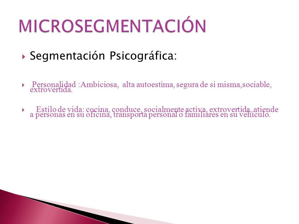 Segmentación Psicográfica: Personalidad:Ambiciosa, alta autoestima, segura de si misma,sociable, extrovertida.