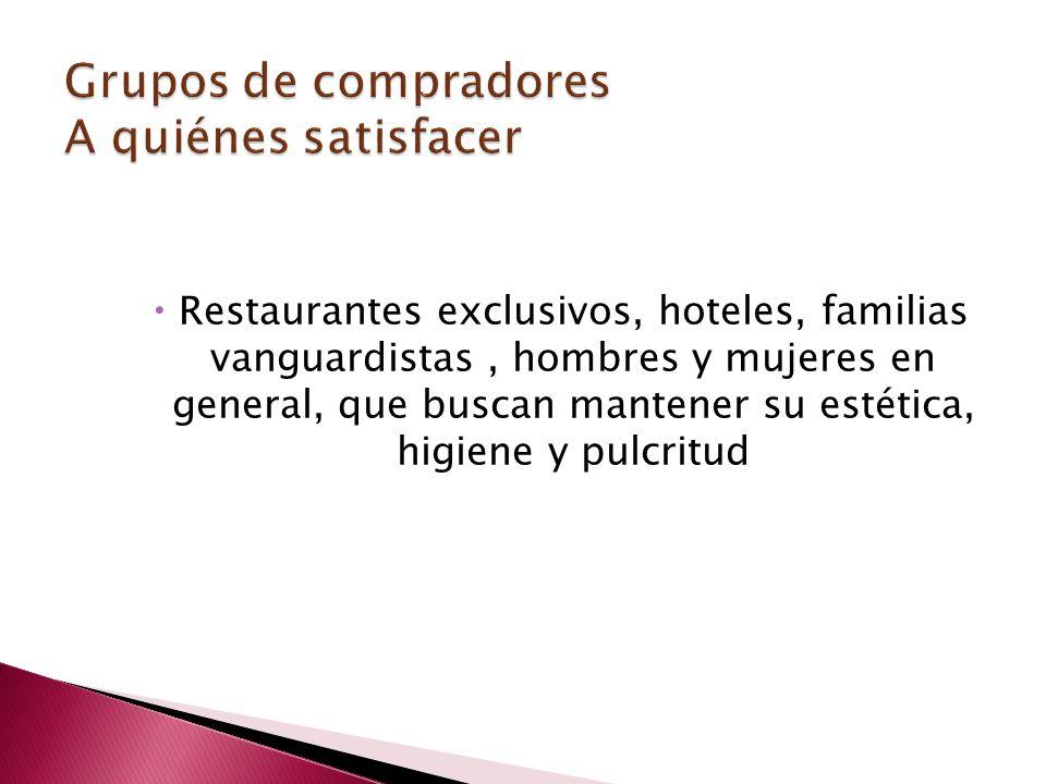Restaurantes exclusivos, hoteles, familias vanguardistas, hombres y mujeres en general, que buscan mantener su estética, higiene y pulcritud