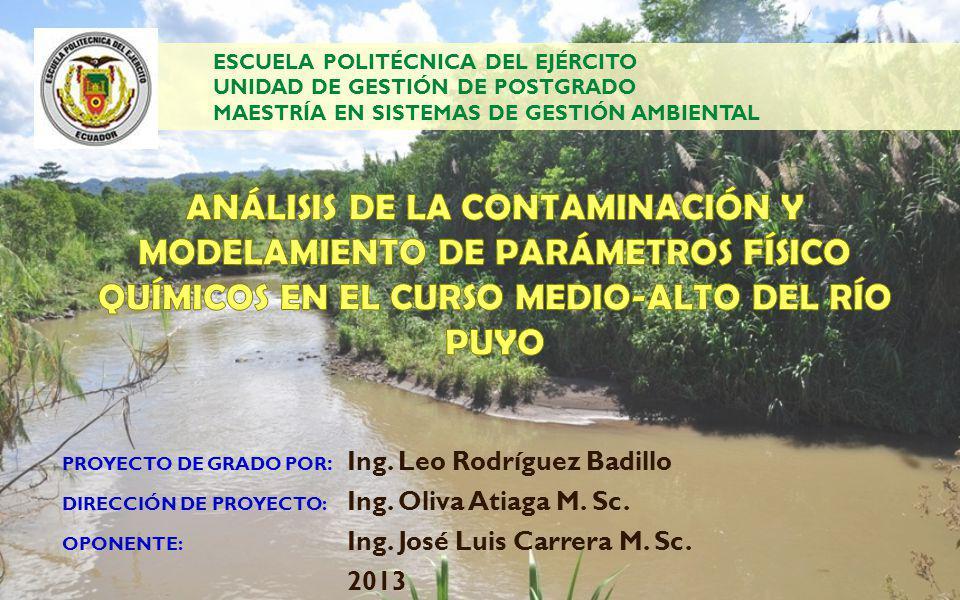 RECOMENDACIONES Es conveniente llevar a cabo nuevas investigaciones respecto a la caracterización y modelación de otros parámetros de interés ambiental en las aguas del Río Puyo en el tramo estudiado, como DQO, coliformes fecales, fosfatos o nitratos.