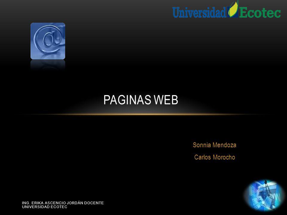 ING. ERIKA ASCENCIO JORDÁN DOCENTE UNIVERSIDAD ECOTEC Sonnia Mendoza Carlos Morocho PAGINAS WEB