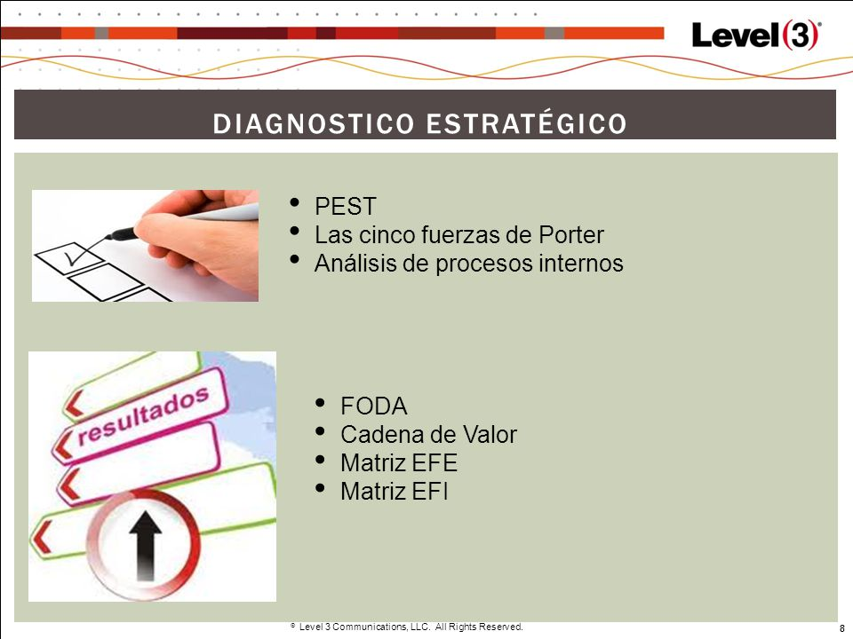 8 Level 3 Communications, LLC. All Rights Reserved. 8 DIAGNOSTICO ESTRATÉGICO PEST Las cinco fuerzas de Porter Análisis de procesos internos FODA Cade