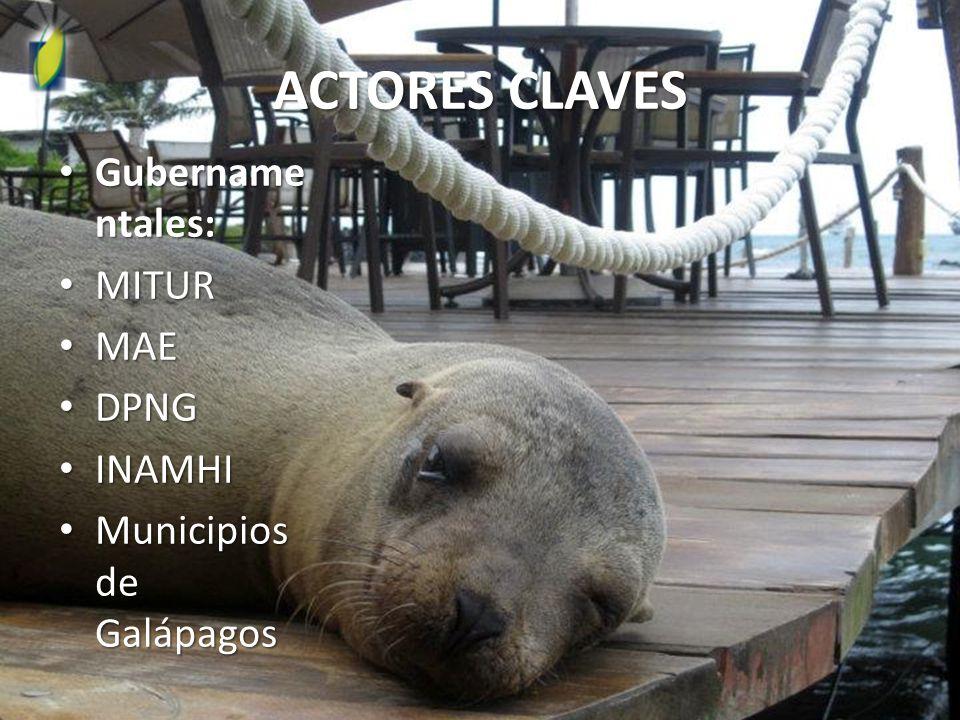 ACTORES CLAVES Gubername ntales: Gubername ntales: MITUR MITUR MAE MAE DPNG DPNG INAMHI INAMHI Municipios de Galápagos Municipios de Galápagos